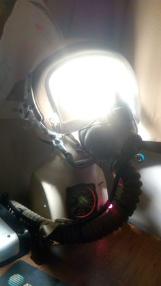 Light made from old russian helmet and altimeter.