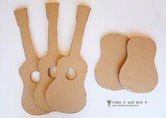 Guitars made from cardboard - scale down for doll American girl doll diy cardboard guitar tutorial Cardboard Guitar, Cardboard Crafts, Doll Crafts, Diy Doll, Crafts For Girls, Diy For Kids, Ag Dolls, Girl Dolls, American Girl Crafts