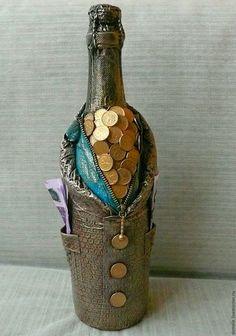 Декор бутылки, декор бутылок, подарочное оформление бутылок,оформление бутылок…