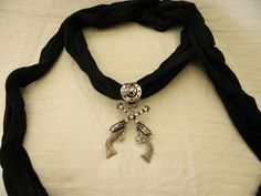 New Womens Pendant Scarf Necklace Jewelry Choker Black Scarf Two Pistols #Diva