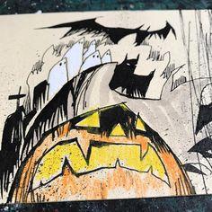The Great Pumpkin, Brucie.  #halloween #shittybatman #happyhalloween #mixedmedia #quickie #batman #dccomics #destruction #visualfunk #foodone #jimmahfood