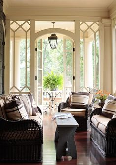 Love the idea of a bench as a table. Perfect for a smaller area like our side porch!