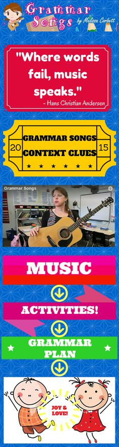 (Free Grammar Videos and Activities) Context Clues by Melissa....This is one of my favorite songs I've written as a teacher! Teachers constantly ask students to use context clues, but this song clearly states the types of context clues used commonly within text (synonyms, antonyms, and examples). The song has an encouraging chorus prompting students to persevere when struggling with unfamiliar words when reading text. The teacher (of course) is the hero as the student finds success!