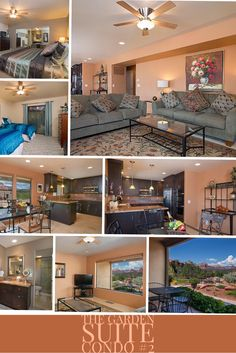 This ground floor suite overlooks the patios, bocce court, water features and views of Sedona.  A tasteful and soothing master suite with king size bed and ensuite bath with a glass enclosed shower. The second bedroom offers two twin beds and shares the hallway bath which also has a glass enclosed shower. The twin bed arrangement can be converted to a king size bed, complete with king size linens, for a nominal fee.