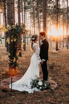 Elegant Bohemian Decor: Woodsy Forest Foliage Wedding Altar Ceremony | P...