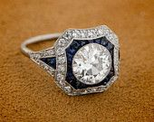 Estate Diamond and Sapphire Engagement Ring - 1.67ct Engagement Ring - Estate Diamond Jewelry Collection