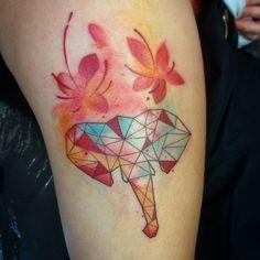 Elephant with flower #elephant #flower #cherryblossom #sakura #tattoo #ink #inkedup #au #Australia #Melbourne #love #life #lowpoly #paint #watercolor #girl #beauty #art