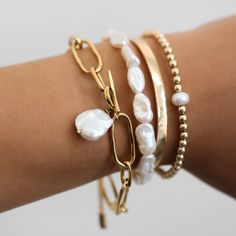 Bracelets to wear on their own or start a stack! Gold filled and natural freshwater pearls are the perfect composition! Start your own stack today xx