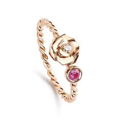 Say it with flowers and jewellery. Piaget Rose gold ring with a pink sapphire and a white diamond. For the feminine girly mum. Perfect for a present in our gift inspiration on Mother's Day. http://www.thejewelleryeditor.com/shop/product/piaget-rose-gold-ring/ #jewelry