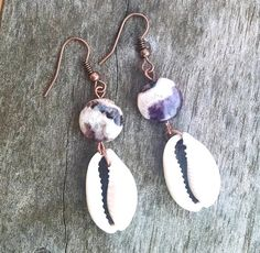 Cowrie Shell Earrings with Purple Charoite Purple by atiltKC