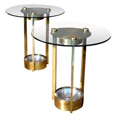 Pair Dorothy Thorpe Brass & Glass Side Tables c.1950s