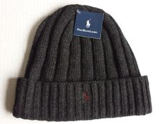 #POLO Ralph Lauren Beaine Hat with Cuff Charcoal Color (gray ) with Red Logo NWT RalphLauren visit our ebay store at  http://stores.ebay.com/esquirestore