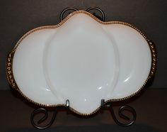 FIRE KING OVENWARE ANCHOR HOCKING WHITE MILK GLASS DIVIDED BOWL GOLD BEADED  #Divided3Compartments Anchor Hocking, Gold Beads, Divider, Milk, Glass, Ebay, Milk Glass, Drinkware, Corning Glass
