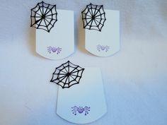 Hand stamped die cut spider web gift tag set by DawnFrostDesigns