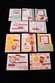 3/14/17 Workshop : Sugar Rush Birthday Cards  10 Birthday Cards using the Sugar Rush Papers with the Wise Guy Birthday and Sugar Rush Donut Stamps. Accessories include Sugar Rush Washi Tape, Sugar Rush Gems and various colors of Shimmer Brushes.  Class is Tuesday, March 14, 2017, 6:30-8:30pm.  Cost: $15 or $8 for monthly club members