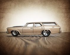 Vintage Muscle Car Beige 1970 Chevelle Wagon