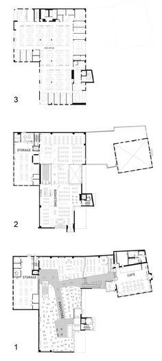 Floor plans levels 1-3