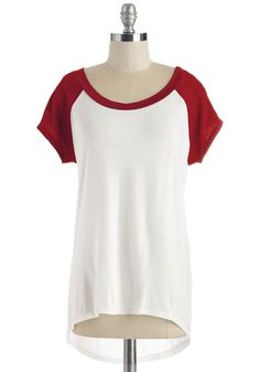 Skates One to Know One Tee in Ruby. You knew at once that this red-and-white raglan tee would be a perfect partner at the skate park! #white #modcloth