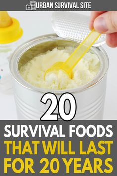 Jan 2020 - As long as you take the right precautions, these 20 survival foods will last at least 20 years, allowing you to ride out any disaster without going hungry. Emergency Preparedness Food, Emergency Food Storage, Emergency Preparation, Emergency Supplies, Survival Prepping, Survival Skills, Emergency Kits, Hurricane Preparedness, Emergency Food Supply