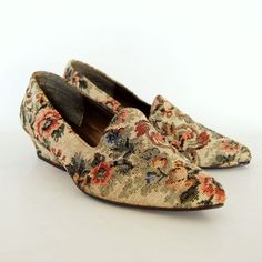 vintage VICTORIAN heels /  1980s floral TAPESTRY slip on loafers. $42.00, via Etsy.