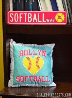 Softball Room Signs and frames. Softball gift ideas and custom softball room decor from chalktalksports.com - personalized softball way sign and custom softball pillow