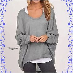 Casual Oversized Loose Gray Pullover CrewNeck Top Casual Oversized Loose Gray Pullover Long Sleeve CrewNeck Top.  Casual Hi-Lo  Fits True to Size Only taken out of package for Photos  ❌NO TRADE OR PP❌ ✔️Price Firm Unless Bundled Boutique Tops