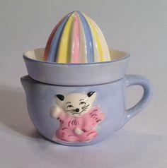 Vintage Reamer Baby Juicer Kitten Cat Japan Pottery 429 Blue Pink Yellow 30s 40s