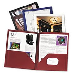 Presentation Folders w/ bordered display window, Ltr, 25 Sht Cap., White, $3.77. Pg. 1161/ A #ESS-57444