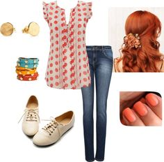 """""""Polka Dot Top"""" by tatasaleh ❤ liked on Polyvore"""