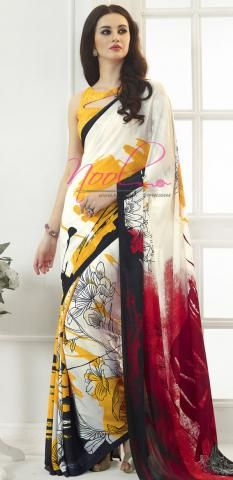 Yellow Satin Crepe Surat Saris Designer Printed SF3296D19344