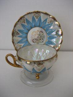 Ucagco lustre ftd demitasse cup & saucer vintage Japan white blue gold mint cond