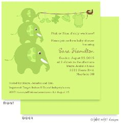 Baby Showers : Elephants Clothesline Green Invitation