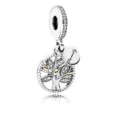 Family tree silver dangle with 14k and clear cubic zirconia
