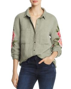 99095af3 Rails Marcel Embroidered Shirt Embroidered Flowers, Clothes Horse, Denim  Button Up, Button Up