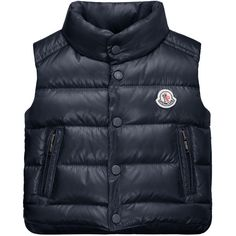 Moncler Bernard Zip-Trim Puffer Vest ($255) ❤ liked on Polyvore featuring outerwear, vests, kids baby layette, navy, quilted nylon vest, quilted vest, moncler vest, puffer vest and turtleneck top