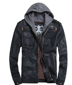 new Short Hooded PU leather jacket Blacks MEN'S JACKET coat Racing fit all