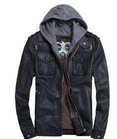 new Short Hooded PU leather jacket Blacks MEN'S JACKET coat Racing fit all