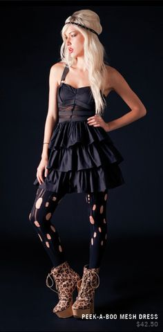 Black Peek-A-Boo Mesh Dress