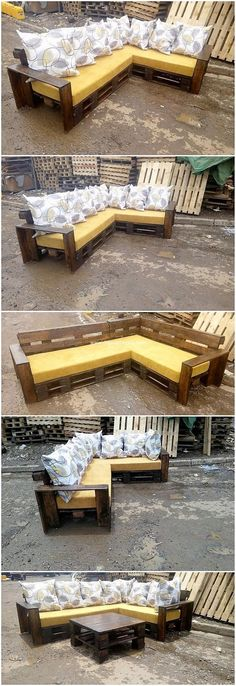 Amazing Things to do with Recycled Wood Pallets - DIY Pallet Ideas Pallet Furniture Outdoor Couch, Wood Pallet Couch, Wooden Couch, Pallet Furniture Designs, Pallet Seating, Cafe Seating, Wooden Pallet Projects, Couch Furniture, Outdoor Seating