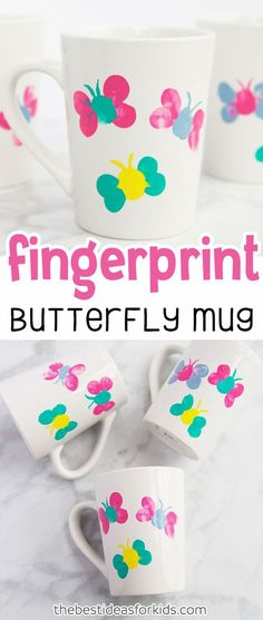 Thumprint Butterfly Mug Craft for Spring or Mother's Day. Mug Painting Ideas, Mug Painting DIY, Mug Painting Ideas Ceramic, DIY coffee mugs, Paint your own mug, hand painted mugs. Mother's Day Crafts, Mothers Day Crafts, Mothers Day Gifts, Mothers Day Gifts from Kids #sponsored