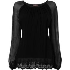 Phase Eight Made in Italy Padma Lace Trim Silk Blouse, Black ($105) ❤ liked on Polyvore