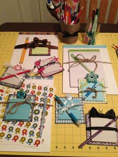 Post-It Notes project using cardboard coaster, scrapbook paper & embellishments!
