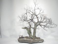 Copper wire tree - Bonsai style - Natural rock - recycled material - Wabi sabi