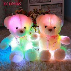 45 cm Colorido Brillante Suave Oso de Peluche de Juguete de Felpa Almohada Intermitente Luz LED Luminoso Oso Muñeca Juguetes Del Bebé Regalo de Cumpleaños niños