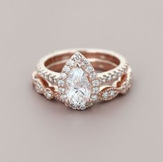 Heroine Accented Engagement Ring and Amore Vintage Wedding Band #weddingbands