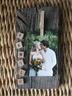 Items similar to Reclaimed Barnwood Clothes Pin Picture Hanging on Etsy - section of old photo holder board and scrabble letter Informations About Items similar to Reclaimed - Wood Block Crafts, Barn Wood Crafts, Barn Wood Projects, Picture Frame Crafts, Wood Picture Frames, Picture On Wood, Photo Craft, Diy Photo, Cadre Diy