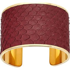 ASPINAL OF LONDON Cleopatra pyton-leather cuff S ($150) ❤ liked on Polyvore featuring jewelry, bracelets, burgundy, leather jewelry, leather cuff bracelet, aspinal of london, cuff bangle bracelet and cuff bracelet