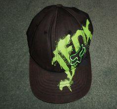 Youth Boys Black & Green FOX Graffiti Embroidered Hat, One Size FLEXFIT, GUC! #FOX #BaseballCapHat