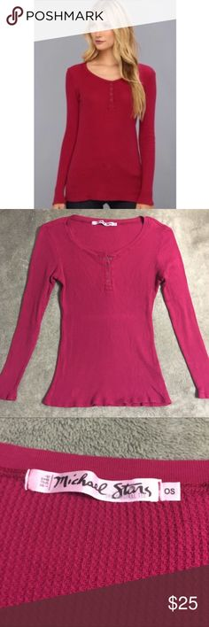 Michael Stars Magenta Long Sleeve Thermal Henley Super cute magenta thermal /waffle Knit long sleeve henley from Michael Stars. One size fits most - I would say it's a small but it's really stretchy, so probably can fit up to a large. Metal snaps up the bust. Gently worn - great condition! Michael Stars Tops Tees - Long Sleeve