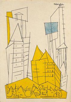 Lyonel Feininger. Bauhaus Ausstellung Weimar Juli–Sept, 1923, Karte 1. 1923. Lithograph, 5 7/8 × 3 15/16″ (15 × 10 cm)